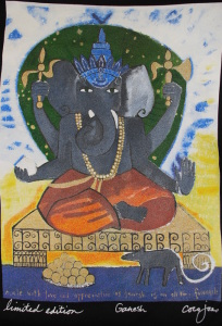 Art Print on black teeshirt - 'Ganesh' by Coco Jones
